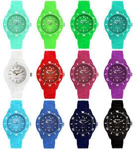 Uhr-Armbanduhr-Damenuhr-Bunt-Kinder-Farbenfroh-Silikon-Gummi-Silikonuhr-Gummiuhr