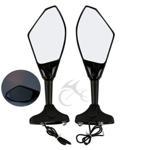 Rearview Side Mirrors LED Turn Signal For Kawasaki ZX6R ZX636 98-06 ZX10R 04-07