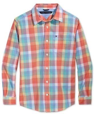 Tommy Hilfiger Boys Regatta Blue Plaid Button Down Pocket Shirt