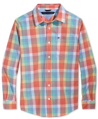 Tommy Hilfiger Boys Orange Plaid Button Down Pocket Shirt