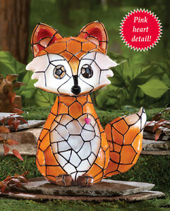Image Is Loading Solar Powered Lighted Faux Tiffany Stained Glass Fox