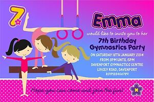 Personalised birthday invitations gymnastics party x 5 ebay image is loading personalised birthday invitations gymnastics party x 5 stopboris Images
