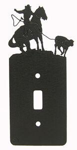 Breakaway-Roping-Rodeo-Horse-Single-Switch-Plate-Black