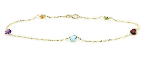 14K Or Jaune Bracelet Avec en forme de cœur Multi Color Zircon Cubique 7.5 in environ 19.05 cm