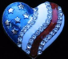 PATRIOTIC FLAG UNITED STATES USA MEMORIAL INDEPENDENCE DAY HEART PIN BROOCH 1""