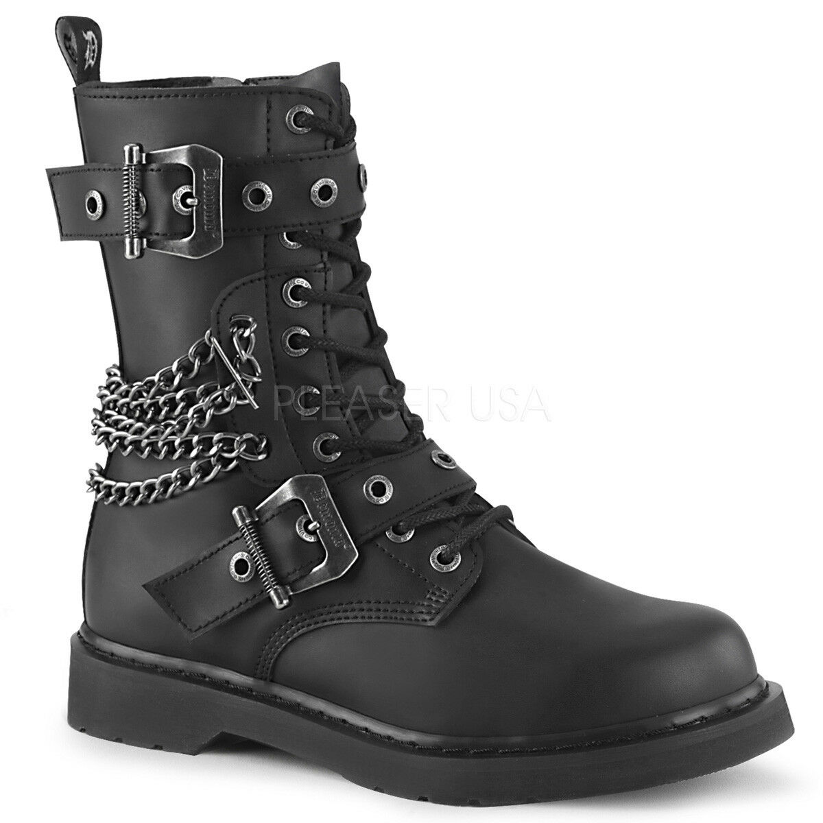 DEMONIA Womens Punk Combat 1 1 1 1 4  Heel 10 Eyelet Buckles & Chains Mid Calf Boots c05d42