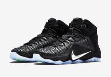 Nike Lebron XII 12 EXT RC QS Rubber City Size 9.5 Black Chrome 744286-001