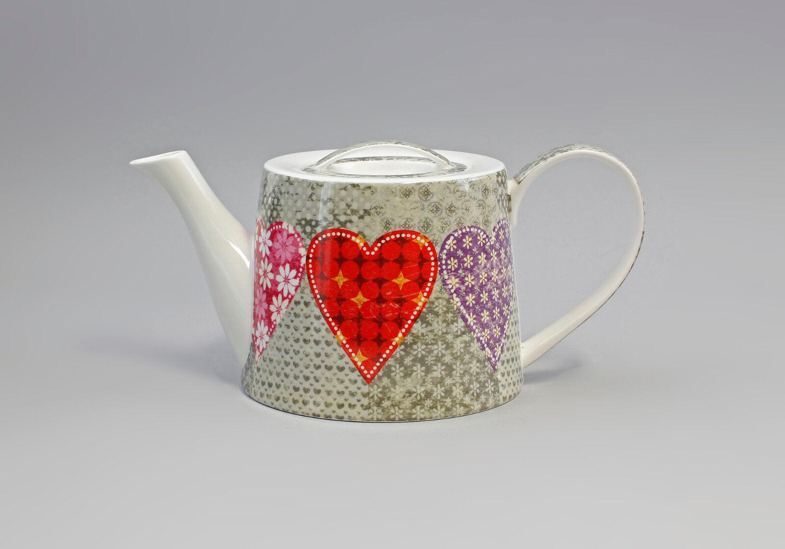 Porzellan moderne Tee-Kanne  Herzen auf grey  Jameson&Tailor 9952271