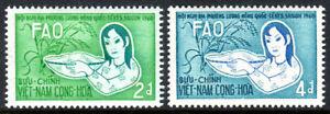 Viet Nam South 144-145, MNH. FAO. Girl, Basket of Rice, rice Plant, 1960