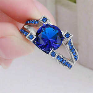 Hermosas-Mujeres-Damas-Rodio-Plateado-Redondo-Anillo-Vestido-Azul-Zafiro-de-piedras-preciosas