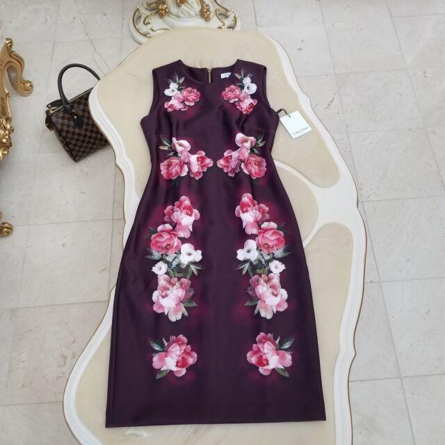 73c77c10de9a Calvin Klein Floral Printed Sheath Women s Dress Size 10 Aubergine Multi