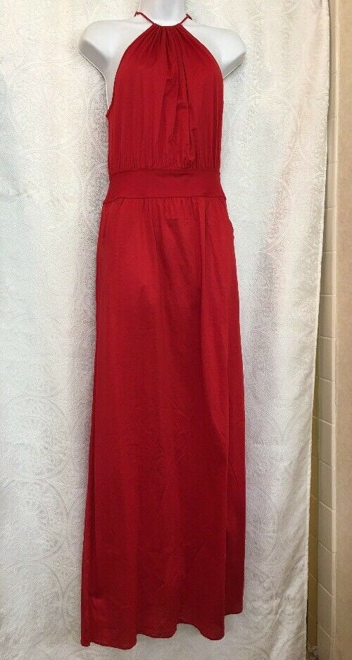 Eres Long Dress Red Sleeveless Cotton Halter Nwt Size S M