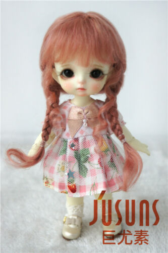 5-6inch Lovely Long Braids Doll Hair 1//8 Mohair Girl BJD Wigs 4 Colors Available