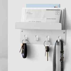 Image Is Loading White Key Holder Mail Rack Wall Mount Organizer