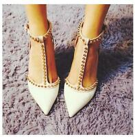 Pointy Toe Studded T Strap Ankle Kitten Heels Pump Shoes