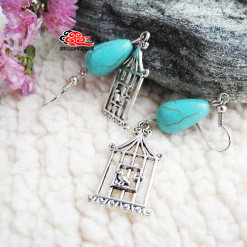 Boucles d/'oreilles tibétaines Cage d/'oiseaux Turquoise reconstituée Au Choix!
