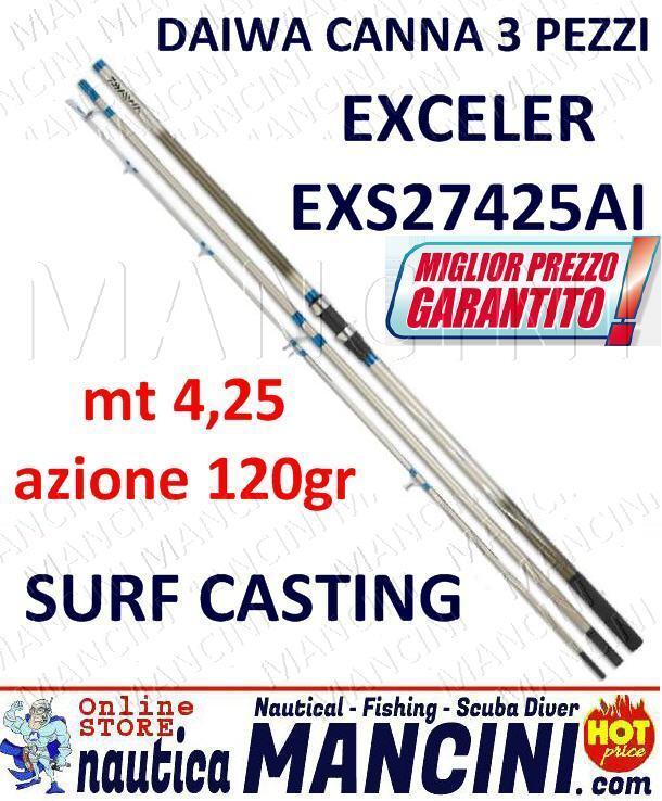 CANNA DAIWA EXCELER SURF CASTING 3 PEZZI INNESTO EXS27425AI mt 4,25 azione 120gr