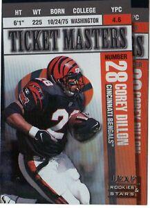 DILLON-PICKENS-1998-Leaf-Rookies-amp-Stars-TICKET-Masters-Insert-2500-Bengals