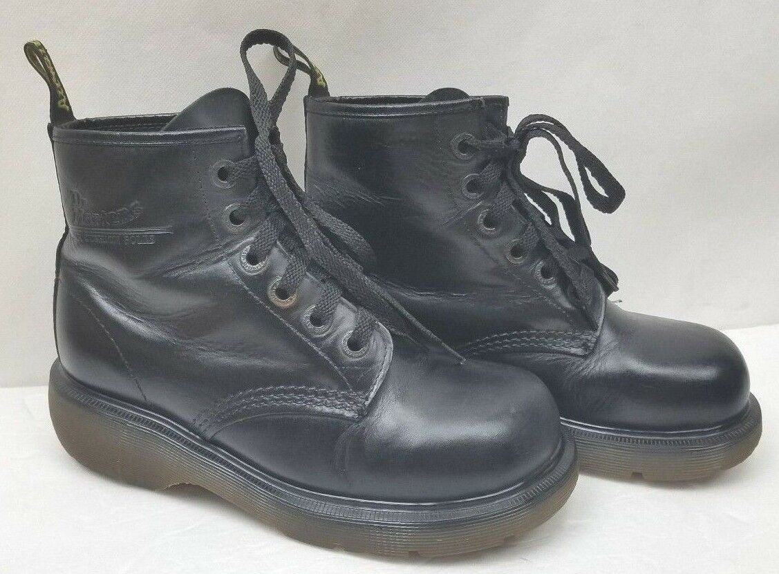 Dr. Martens Womens Boots Vintage Black Smooth 6 Eyelet Made in England US 6