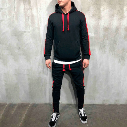 Men Sports Hooded Sweatshirt Drawstring Pants Stripe Patchwork Casual Tracksuit