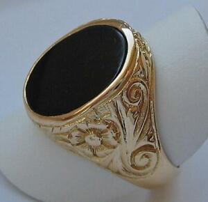 Onyxring-Ring-mit-Onyx-Onix-in-aus-750-18kt-Gold-Antik-um-1900-Finger-Gr-62