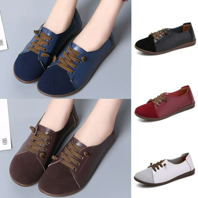 Women's Ladies Casual Flats Loafers Real Leather Comfort Moccasin Lace up Shoes