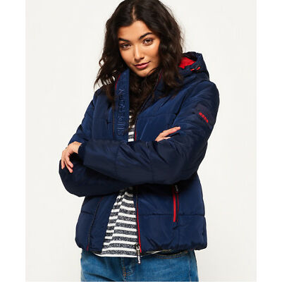 New Womens Superdry Sports Puffer Jacket Navy