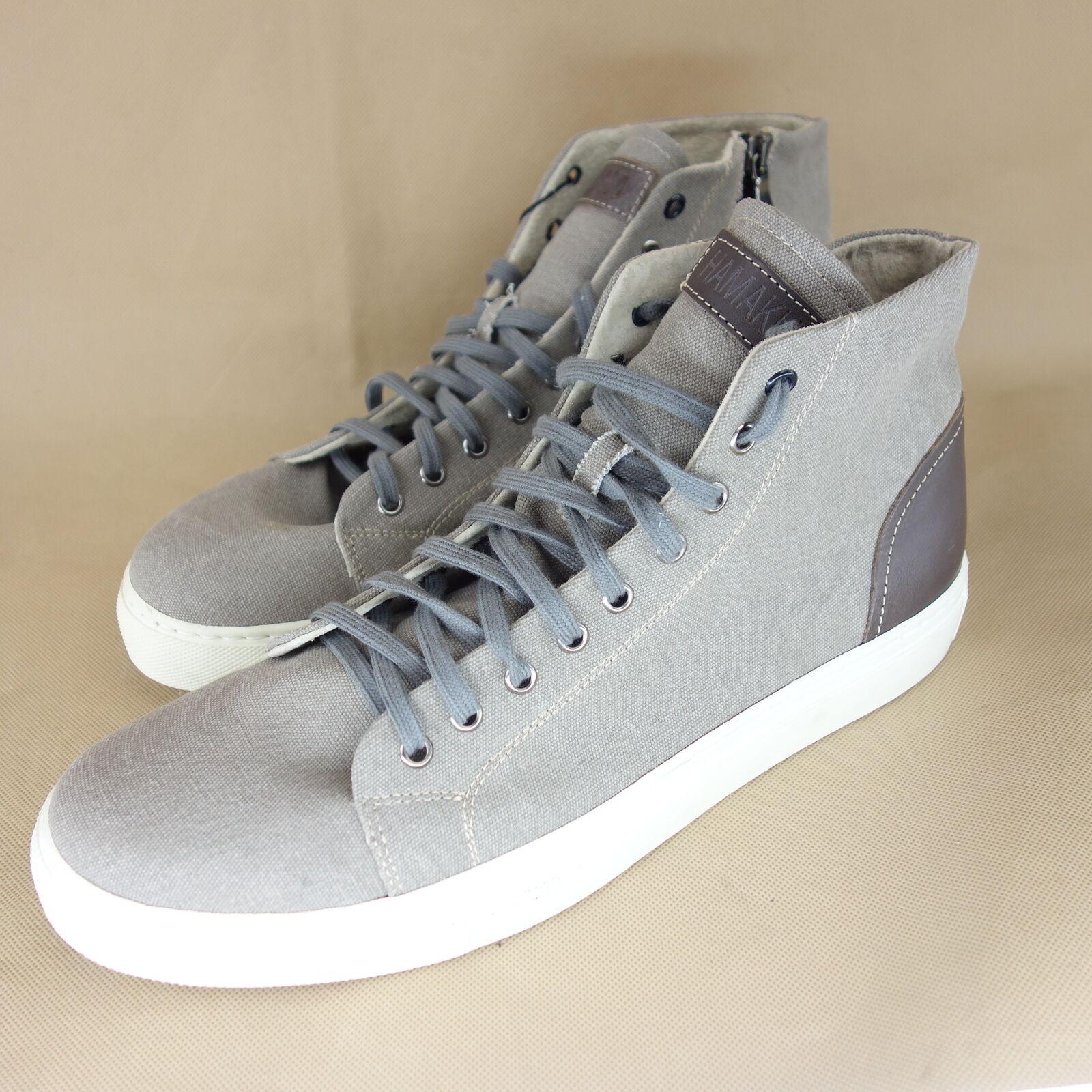 HAMAKI HO Herren Sneaker Schuhe Halbschuhe Gr 45 Leder Grau High Top NP 149 NEU