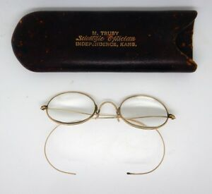 9999d45b4a Image is loading Antique-Gold-Wire-Rim-Spectacles-Glasses-with-Case