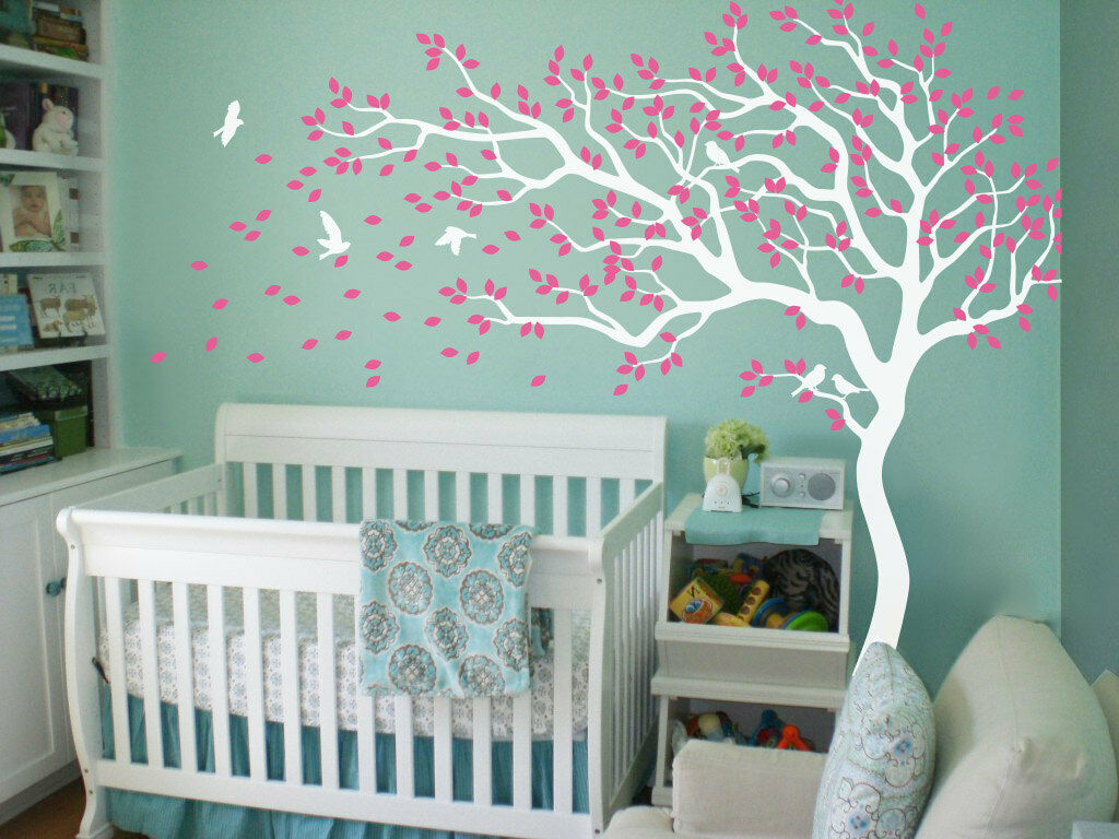 White tree wall decals Nursery tree wall decals Unisex wall decorations Tattoo
