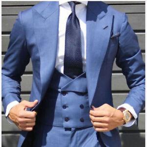 e4dcf263714 Details about Light Blue Double Breasted Vest Men Suit Tuxedo Slim Fit  Groom Wide Lapel Custom