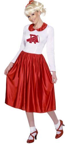 Ladies Long 1950s Cheerleader Sandy Grease Fancy Dress Costume Outfit 8-10-12