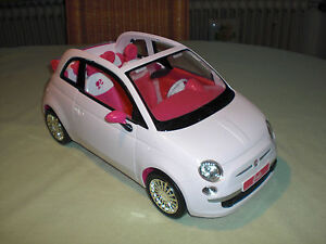 barbie fiat 500 cabrio wei innen pink edles auto mit chrom barbieauto ebay. Black Bedroom Furniture Sets. Home Design Ideas