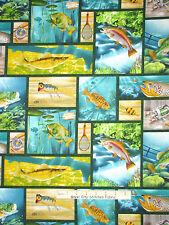 Fish Fabric - Aquarium River Fish Lure Net Patch SPX Lakeside Reflections - YARD