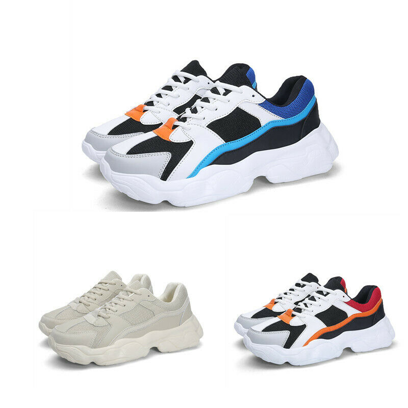 Mens Lace Up Mesh Wedges Outdoor Match color Casual Running Athletic shoes Hot