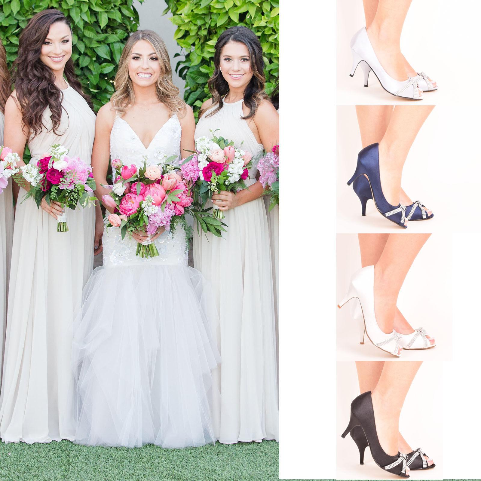 Ladies Women's Bridal Mid Shoes Wedding Bridesmaid Stiletto Low Kitten Mid Bridal Heel Size 53081e