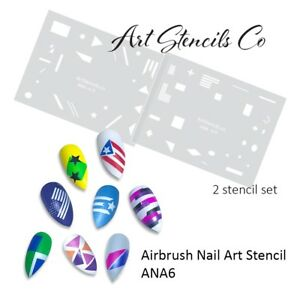 Airbrush-Nail-Art-Stencil-Color-Block-Style-amp-Flag-Shapes-ANA6-2-Stencil-Set
