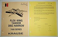 Krause 7400 Series Tandem Disc Harrow Owners Operators Parts Manual Amp Supplement