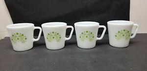 4 PYREX SUMMER IMPRESSIONS GREEN HONEYDEW FLOWERS COFFEE CUPS 1410