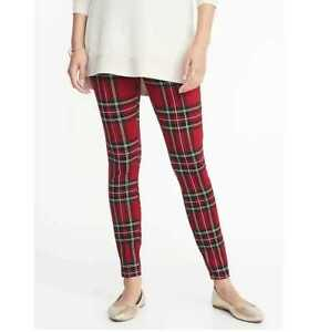21cd19b8ddf29 Details about NEW WOMENS M LP OLD NAVY HIGH RISE STEVIE PONTE-KNIT RED  PLAID LEGGINGS PANTS