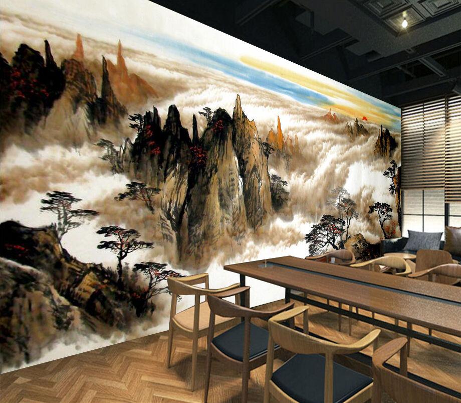 3D Mountains Clouds 886 WallPaper Murals Wall Print Decal Wall Deco AJ WALLPAPER