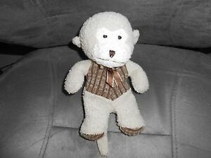 "8"" PLUSH tan terry cloth cream brown striped vest bow monkey lovey soft cute"