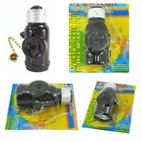 Light Bulb E27 Switch & Socket W/ On/off Pull Chain With 2 Prong 2 Outlet Black