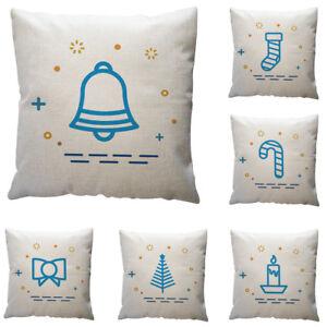 Cotton Linen Christmas Pillow Case Sofa Car Throw Cushion Cover Home Decor
