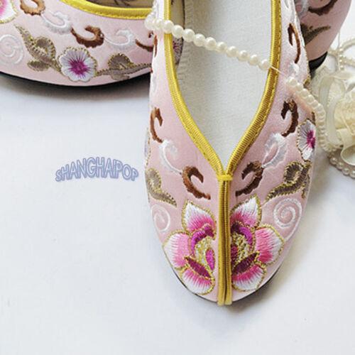 Women Floral Ballerina Slipper Ballet Chinese Slip On Shoe Flat Embroidered Pump
