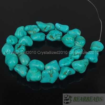 Blue Howlite Turquoise Gemstone 8x12mm 13x18mm Freeformed Nugget Loose Bead 16''