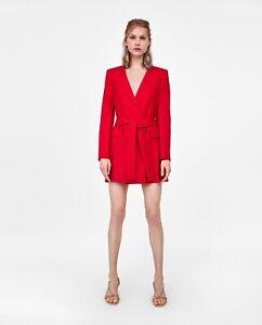 Infizieren Vorweg Wörterbuch  Zara ROJO BLAZER estilo del vestido con cinturón Talla XS | eBay