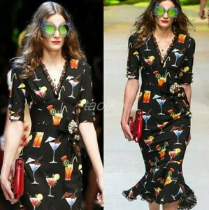 2019 Womens Summer Ball Gown Prom Printed V Neck Sexy Fishtail Dresses Luxury Sz