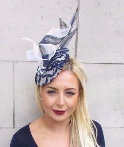 Large Navy Blue White Feather Hat Fascinator Races Formal Hatinator ... 33540c73cfe