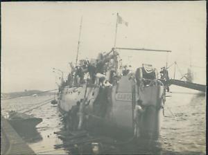France-Navire-militaire-034-Le-Casque-034-a-Ajaccio-1912-Vintage-silver-print-Vinta